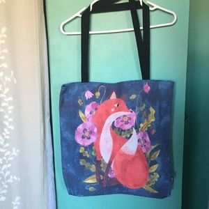 Society6 Floral Fox Tote By Oana Befort